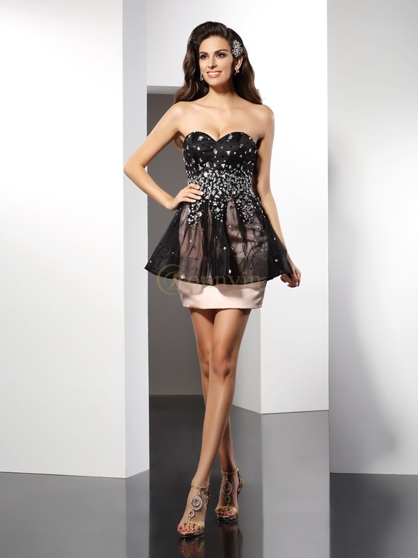 Satin Sweetheart Sheath/Column Short/Mini Dresses