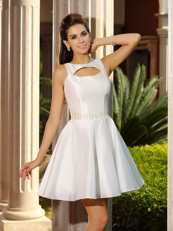White Satin High Neck A-Line/Princess Short/Mini Dresses