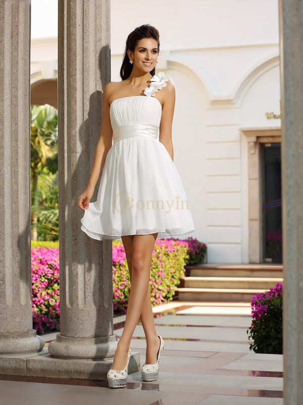 Ivory Chiffon One-Shoulder A-Line/Princess Short/Mini Dresses