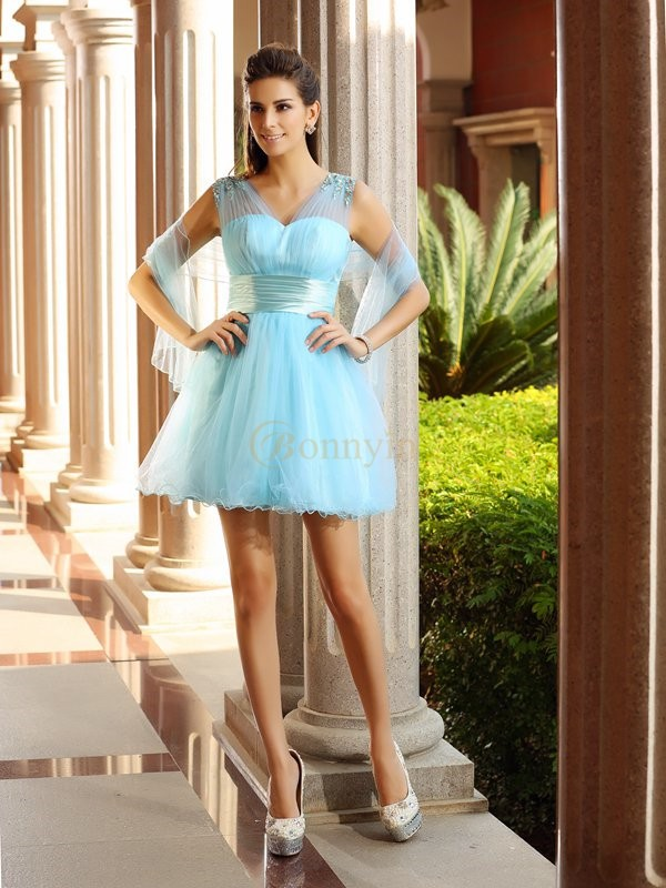 Light Sky Blue Net V-neck A-Line/Princess Short/Mini Dresses