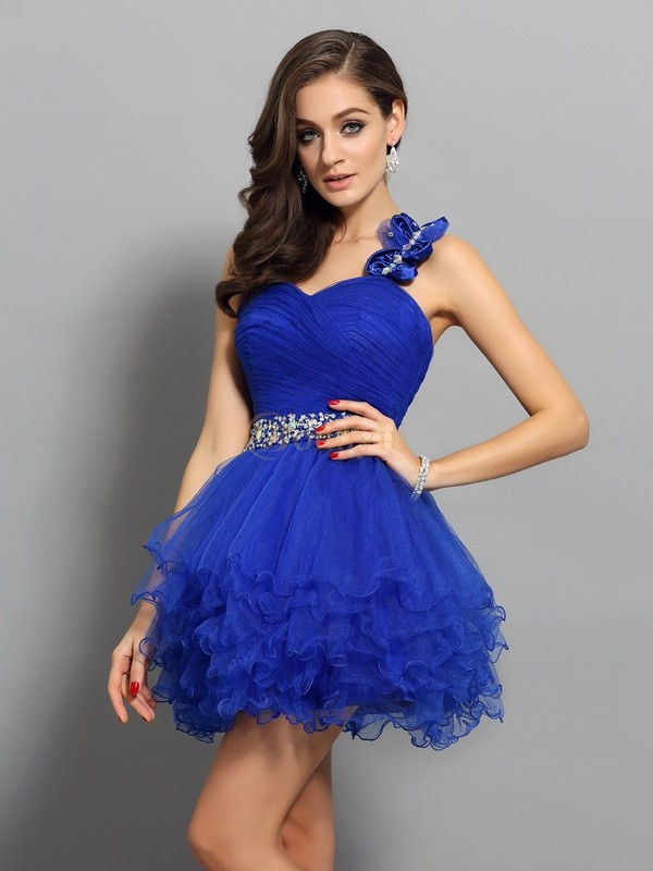 Royal Blue Organza One-Shoulder A-Line/Princess Short/Mini Dresses