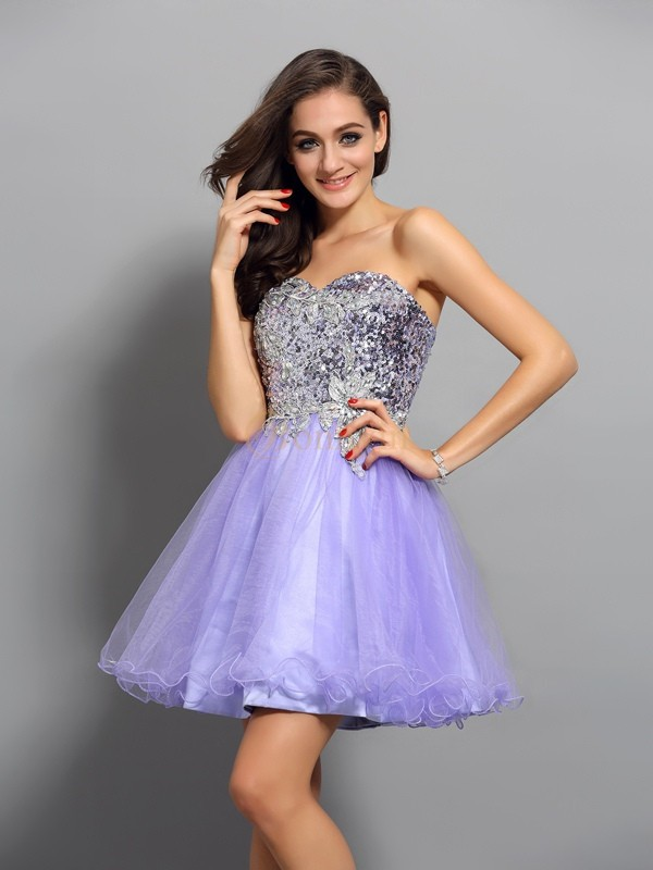 Lavender Net Sweetheart A-Line/Princess Short/Mini Dresses