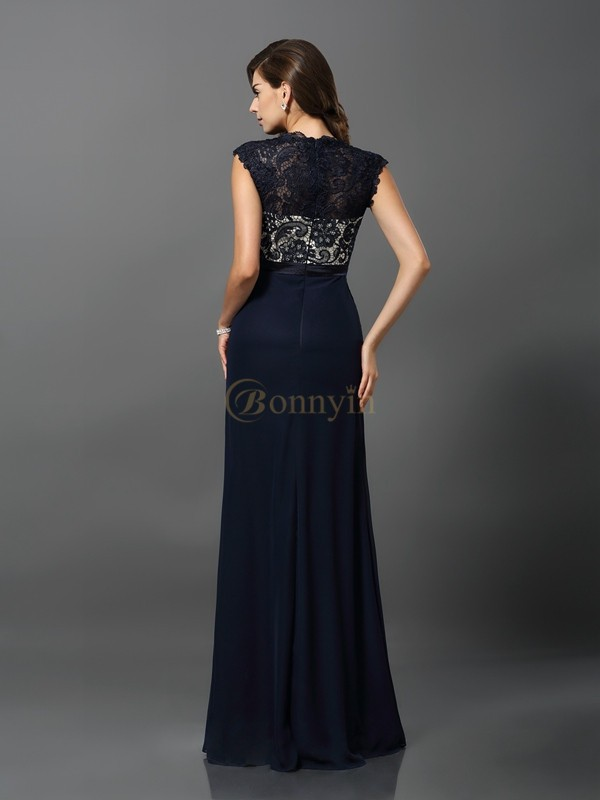 Dark Navy Chiffon Jewel Sheath/Column Floor-Length Dresses