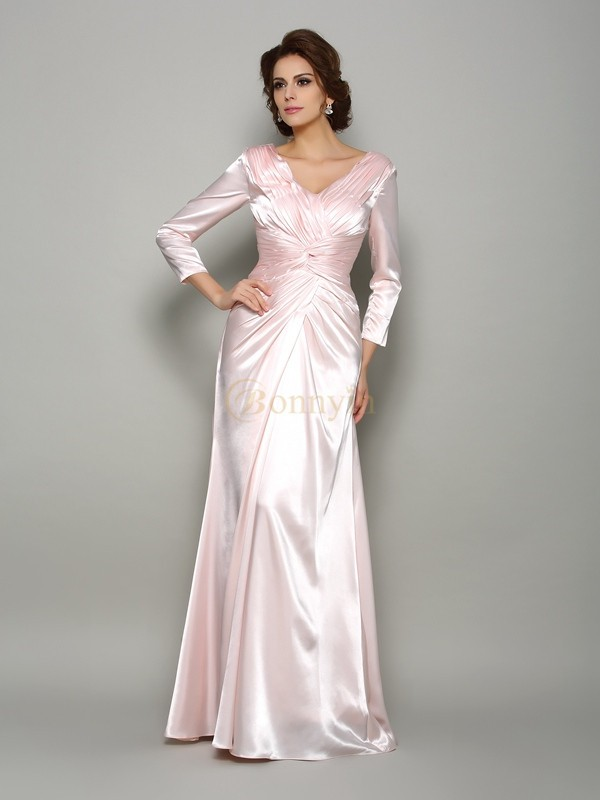 Pearl Pink Silk like Satin V-neck A-Line/Princess Floor-Length Mother of the Bride Dresses