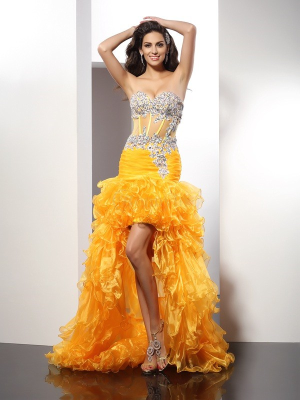 Yellow Organza Sweetheart Sheath/Column Asymmetrical Dresses