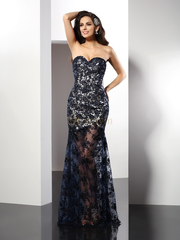 Dark Navy Satin Sweetheart Sheath/Column Floor-Length Dresses