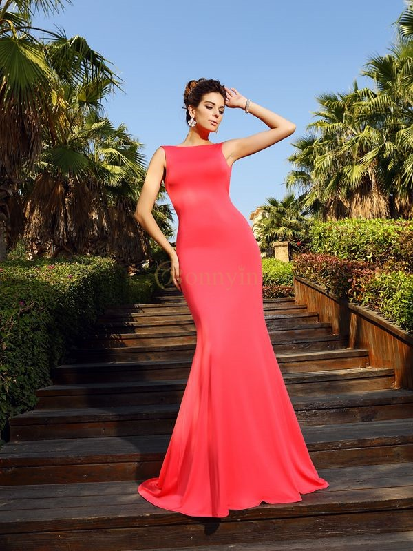 Watermelon Spandex Bateau Trumpet/Mermaid Court Train Dresses