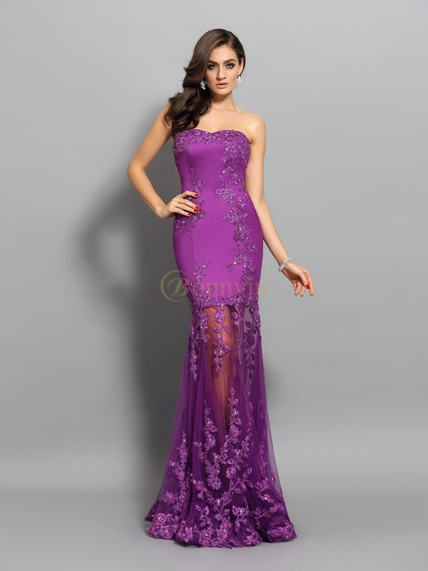 Fuchsia Chiffon Sweetheart Trumpet/Mermaid Floor-Length Dresses