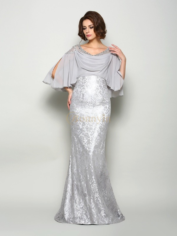 Silver Chiffon Scoop Trumpet/Mermaid Sweep/Brush Train Mother of the Bride Dresses