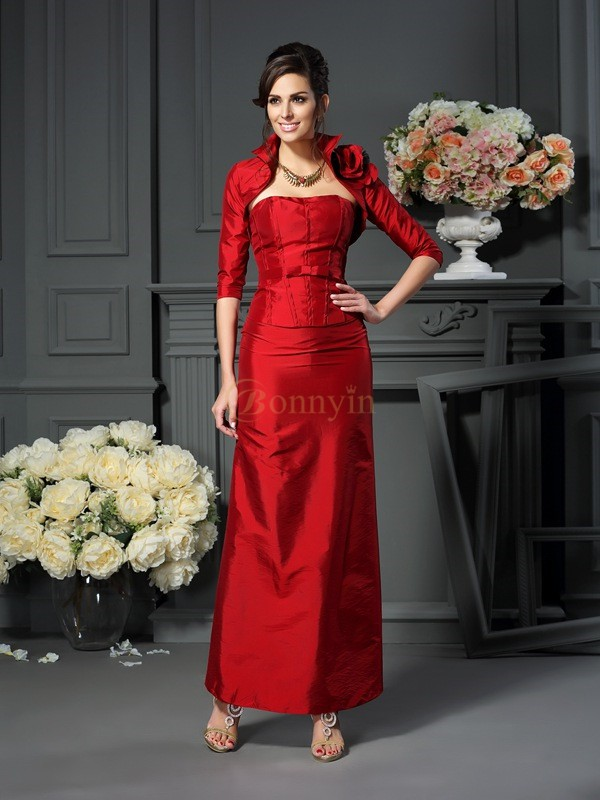 Red Taffeta Strapless A-Line/Princess Ankle-Length Mother of the Bride Dresses