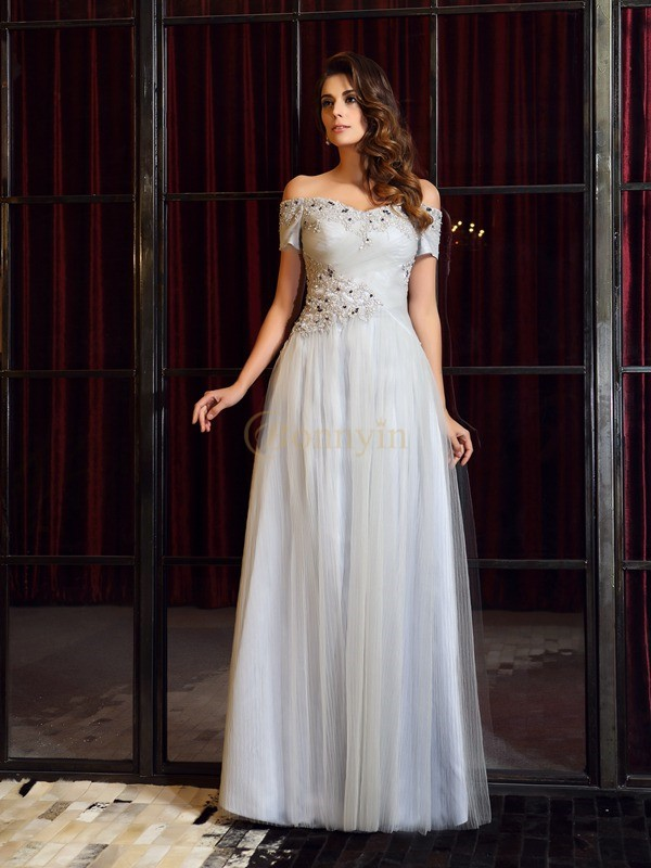 Silver Net Off-the-Shoulder A-Line/Princess Floor-Length Dresses