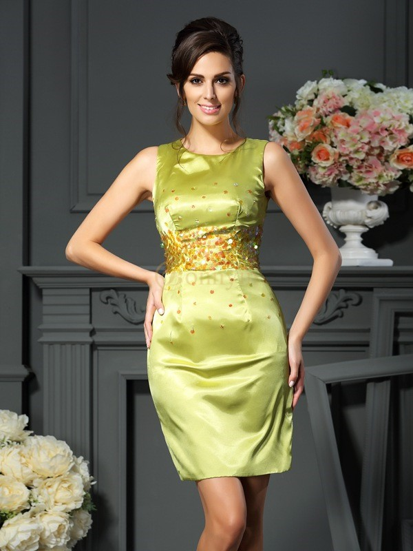 Sage Silk like Satin Scoop Sheath/Column Short/Mini Mother of the Bride Dresses