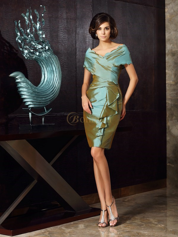 Green Taffeta V-neck Sheath/Column Knee-Length Mother of the Bride Dresses