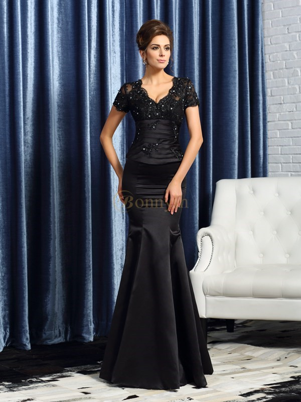 Black Satin V-neck Trumpet/Mermaid Floor-Length Mother of the Bride Dresses
