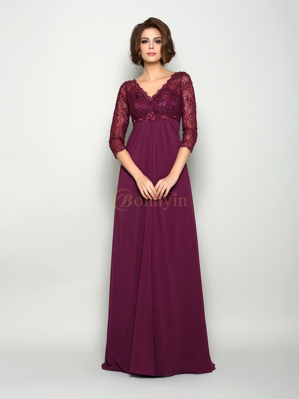 Burgundy Chiffon V-neck A-Line/Princess Sweep/Brush Train Mother of the Bride Dresses