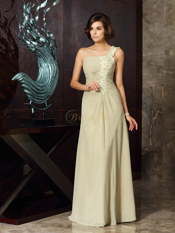Sage Chiffon One-Shoulder A-Line/Princess Floor-Length Mother of the Bride Dresses