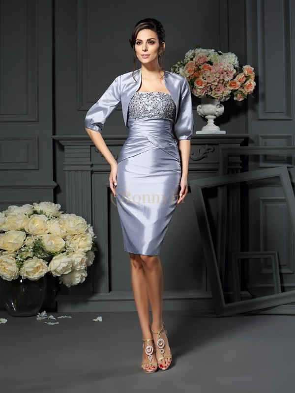 Silver Taffeta Sweetheart Sheath/Column Knee-Length Mother of the Bride Dresses