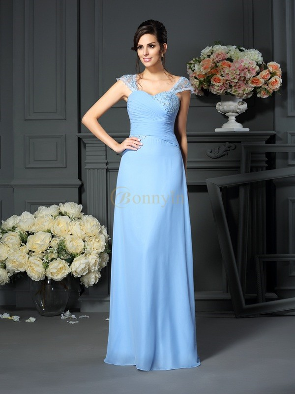 Blue Chiffon Straps Sheath/Column Floor-Length Mother of the Bride Dresses