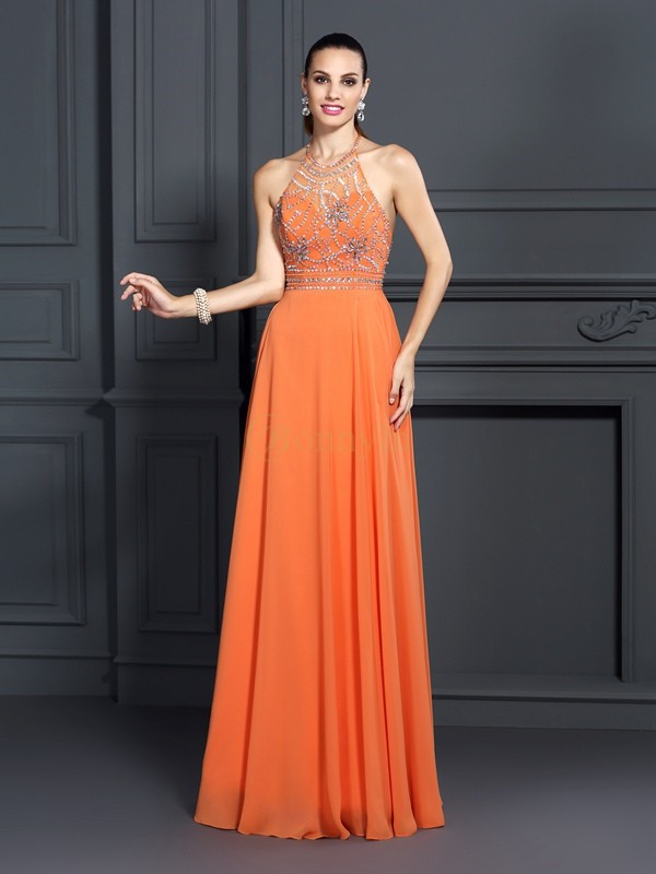 Orange Chiffon Scoop A-Line/Princess Floor-Length Dresses