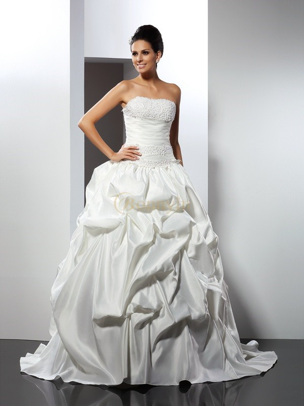 Ivory Satin Strapless Ball Gown Cathedral Train Wedding Dresses