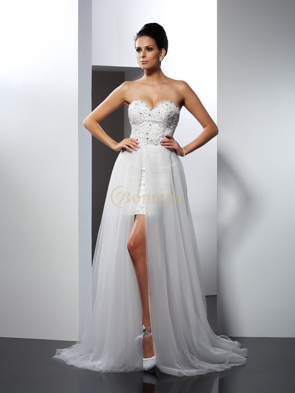 Ivory Tulle Sweetheart A-Line/Princess Chapel Train Wedding Dresses