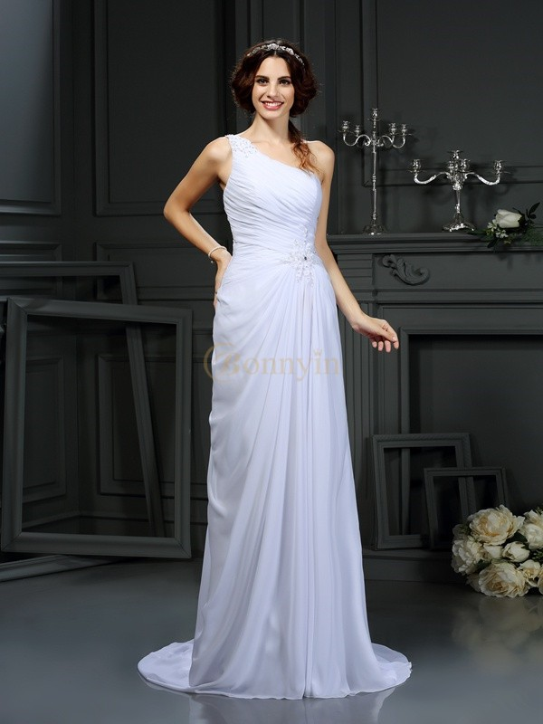 White Chiffon One-Shoulder A-Line/Princess Court Train Wedding Dresses