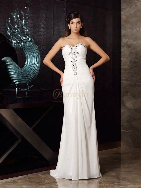 Ivory Chiffon Sweetheart Trumpet/Mermaid Sweep/Brush Train Dresses