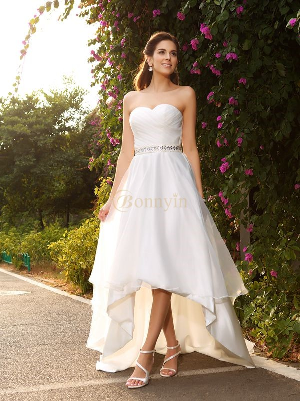 Ivory Organza Sweetheart A-Line/Princess Asymmetrical Wedding Dresses