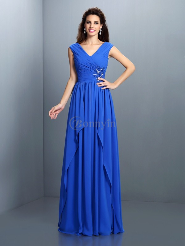 Blue Chiffon V-neck A-Line/Princess Floor-Length Dresses