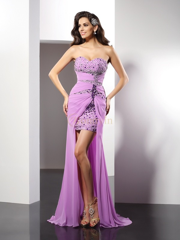 Lilac Silk like Satin Sweetheart Sheath/Column Floor-Length Dresses