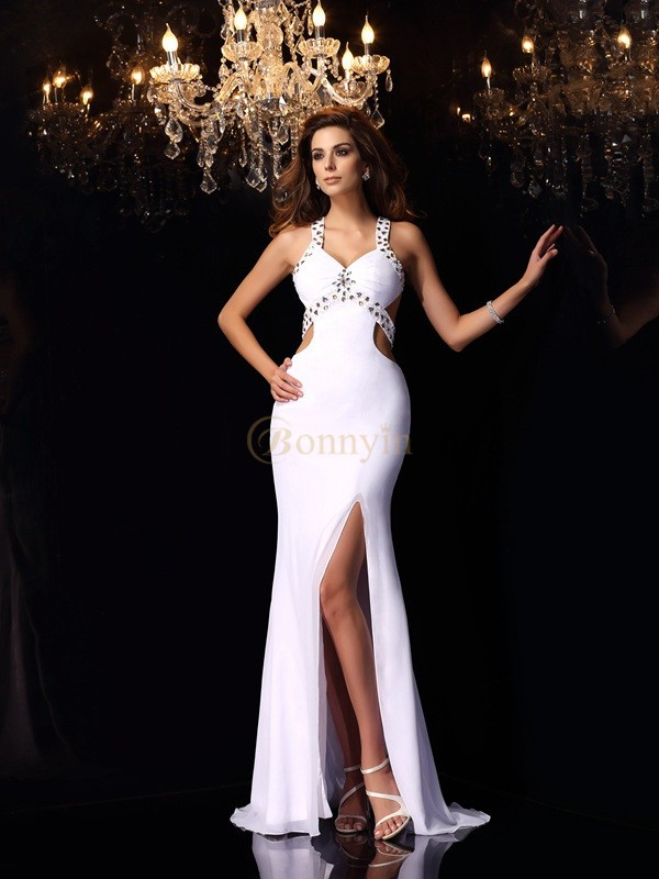 White Chiffon Straps Trumpet/Mermaid Sweep/Brush Train Dresses