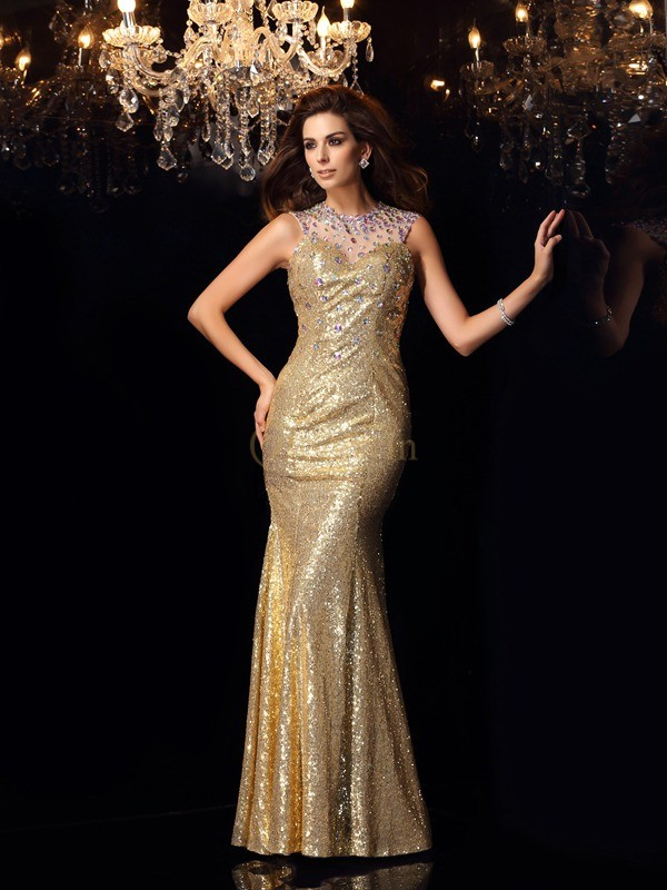 Gold Sequins High Neck Trumpet/Mermaid Floor-Length Dresses
