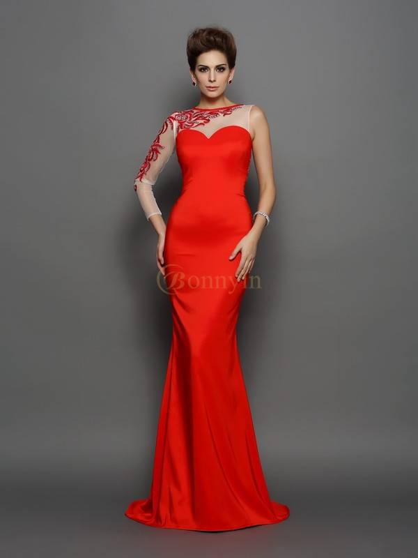 Red Elastic Woven Satin High Neck Trumpet/Mermaid Court Train Evening Dresses