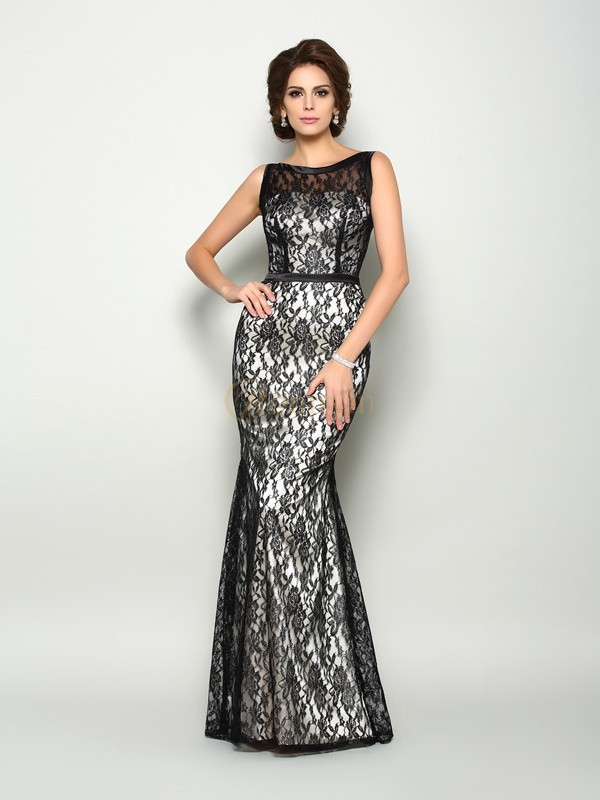 Black Elastic Woven Satin Bateau Trumpet/Mermaid Floor-Length Mother of the Bride Dresses
