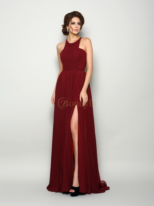 Burgundy Chiffon High Neck A-Line/Princess Sweep/Brush Train Mother of the Bride Dresses