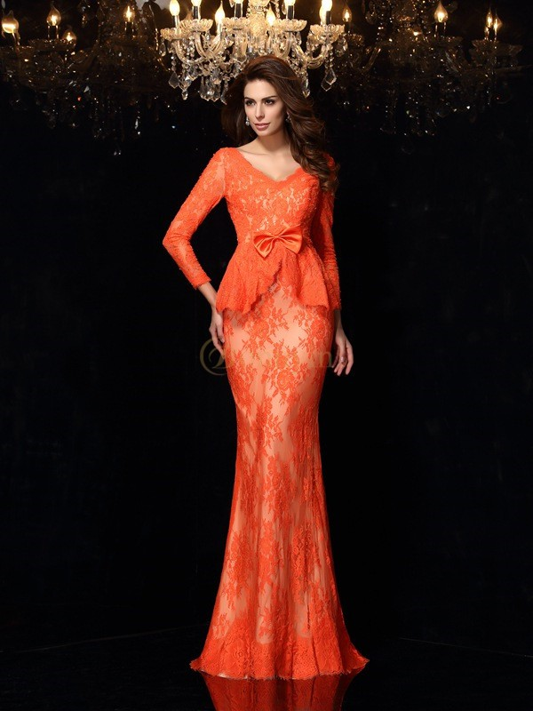 Orange Lace V-neck Sheath/Column Sweep/Brush Train Dresses