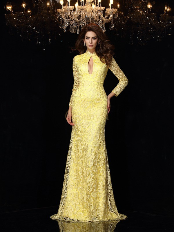 Daffodil Satin High Neck Sheath/Column Sweep/Brush Train Dresses