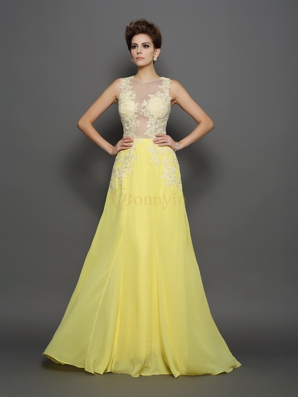 Daffodil Chiffon Scoop A-Line/Princess Sweep/Brush Train Dresses