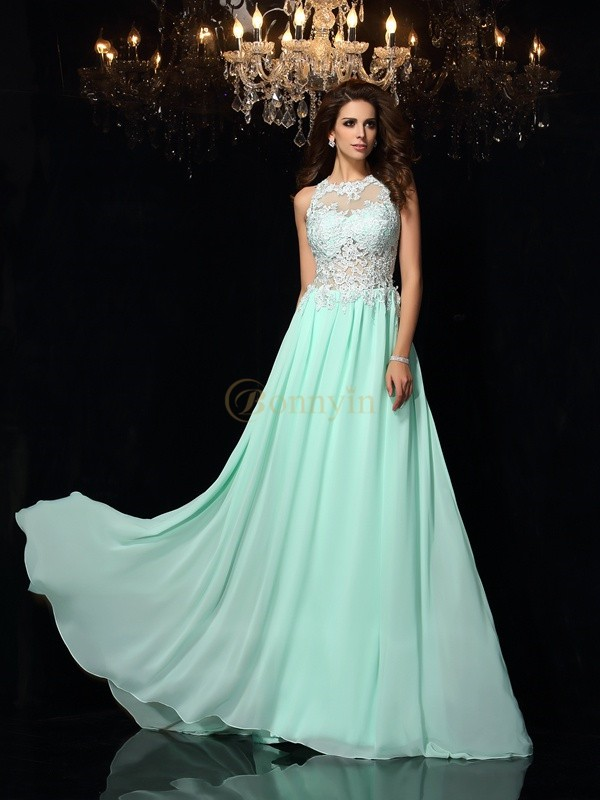 Sage Chiffon High Neck A-Line/Princess Sweep/Brush Train Dresses