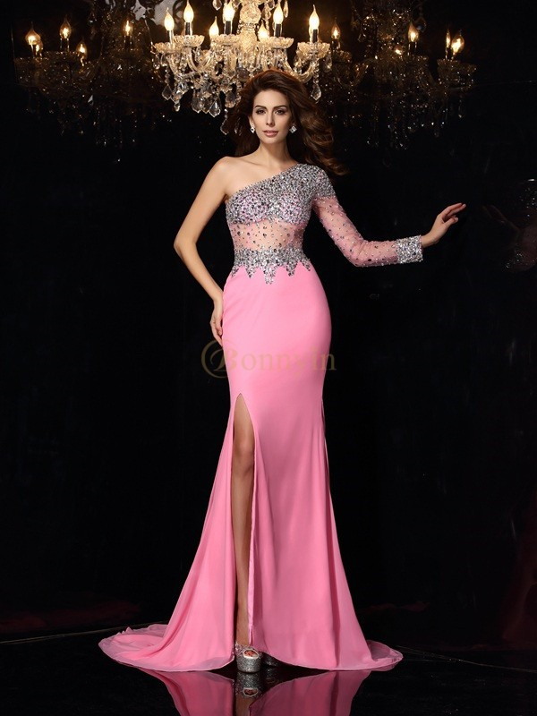Pink Chiffon One-Shoulder Sheath/Column Court Train Dresses