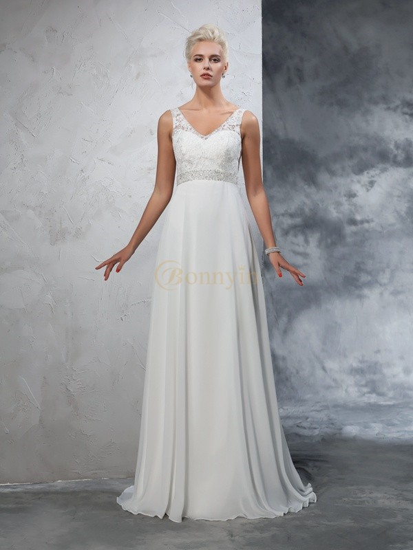 Ivory Chiffon V-neck A-Line/Princess Court Train Wedding Dresses