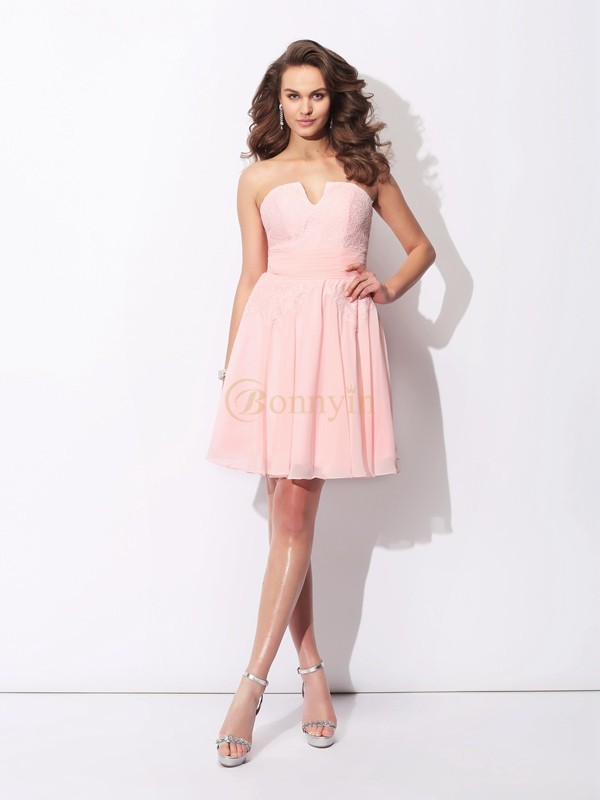 Pink Chiffon Sweetheart A-Line/Princess Short/Mini Bridesmaid Dresses