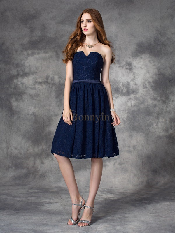 Dark Navy Lace Sweetheart A-line/Princess Knee-Length Bridesmaid Dresses
