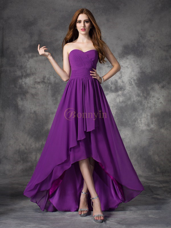 Grape Chiffon Sweetheart A-line/Princess Asymmetrical Bridesmaid Dresses