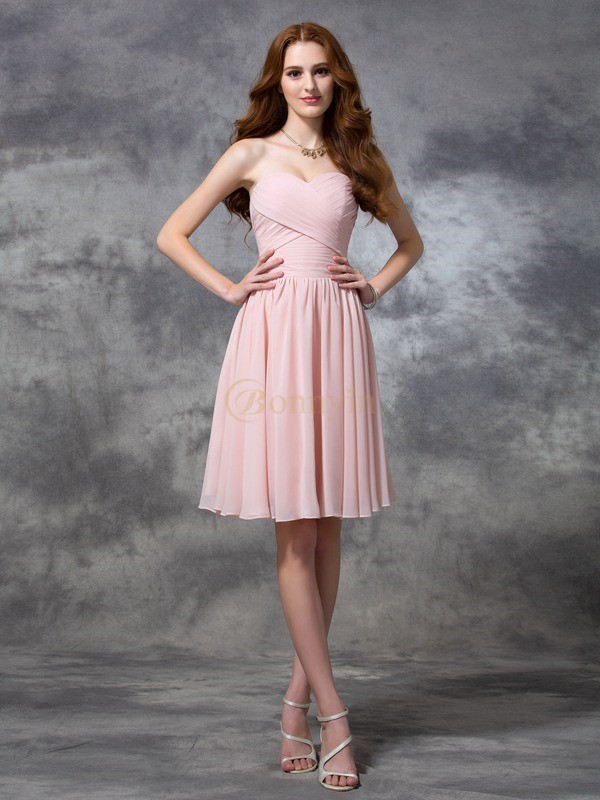 Pearl Pink Chiffon Sweetheart A-line/Princess Knee-length Bridesmaid Dresses
