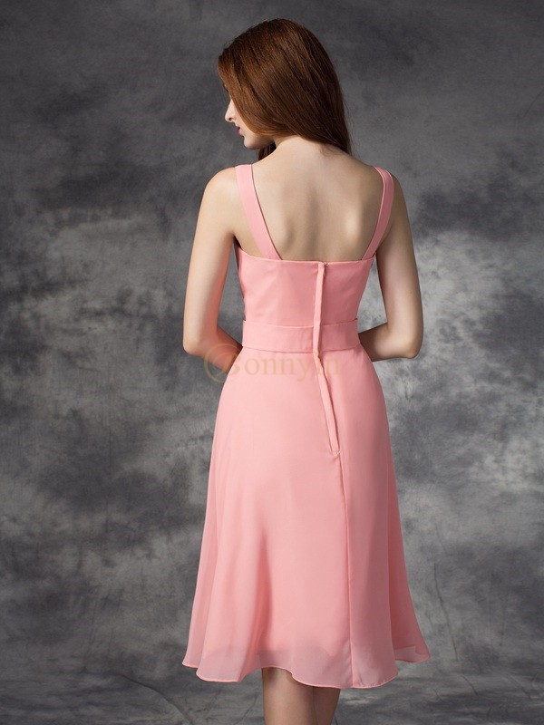 Pink Chiffon Straps A-line/Princess Knee-Length Bridesmaid Dresses