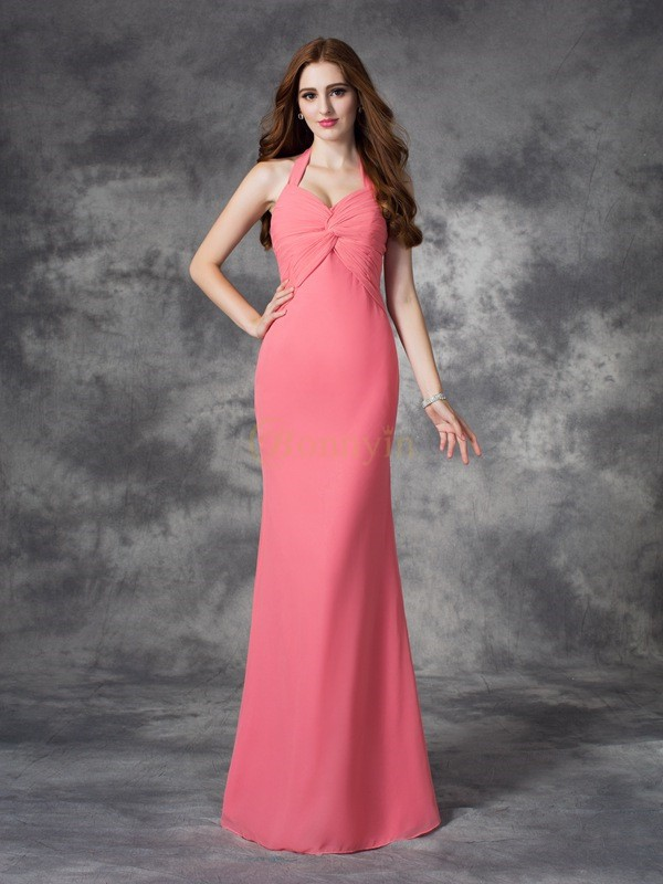 Watermelon Chiffon Halter Sheath/Column Floor-length Bridesmaid Dresses