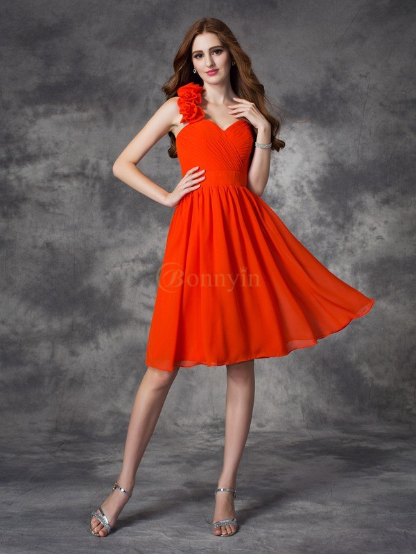 Red Chiffon One-Shoulder A-line/Princess Short/Mini Cocktail Dresses