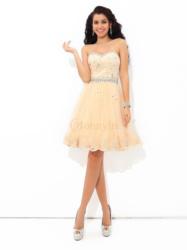 Champagne Satin Sweetheart A-Line/Princess Short/Mini Cocktail Dresses