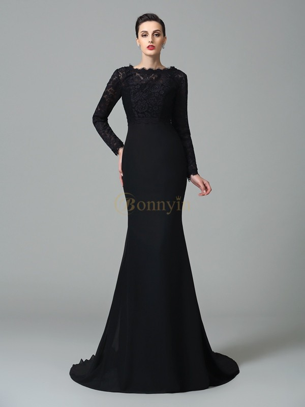 Black Chiffon Square Trumpet/Mermaid Court Train Evening Dresses
